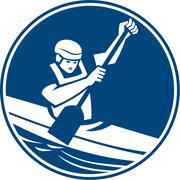 Stock Illustration of Canoe Slalom Circle Icon.