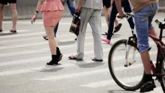 people crossing road - stock footage