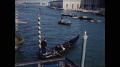 Gondola Departs dock in Venice Italy 1957 Stock Footage