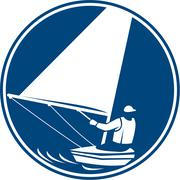 Sailing Yachting Circle Icon. Stock Illustration