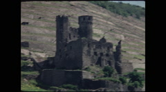 Hilltop Castle Ruins on the Rhine 1957 Stock Footage