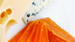 blue stilton roquefort with orange cheddar and yellow parmesan - stock footage