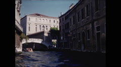 View of Bridge on Narrow Canal in Venice 1957 Stock Footage