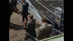 Passenger Exit Boat to Ramp 1957 Stock Footage