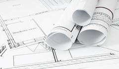 Stock Photo of Drawings for building house. Working drawings.