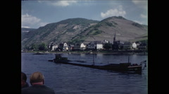 Passing Barge on Rhine River 1957 Stock Footage