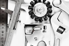 Metal working tools. Metalwork. Caliper, wrench and others tools on white bac - stock photo