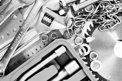 Metalwork. Spanner, box and others tools. - stock photo