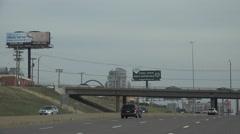 Establishing view , St. Louis, skyline from freeway Stock Footage