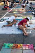 Chalk Artists Sketch Elaborate Halloween Scenes On Street Stock Photos