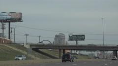 Establishing view , St. Louis, skyline driving freeway Stock Footage