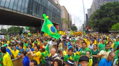 People protest against Brazilian corruption and political reform Stock Footage