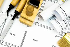 Joiner's works. Drawings for building and working tools. - stock photo