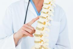 Female doctor with anatomical spine - stock photo