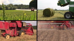 Field spray. Sodder bales. Harvesting. Fertilize soil. Collage Stock Footage