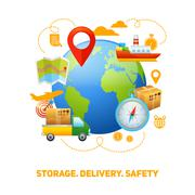 Logistic global concept design illustration - stock illustration