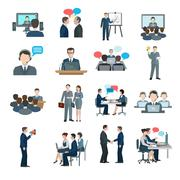 Conference Icons Flat - stock illustration