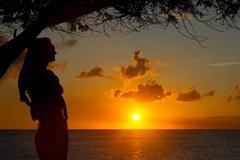 Sunset in Aruba - stock photo