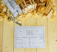 Planning of repair of the house. Woodworking. Drawings for building, small wo - stock photo