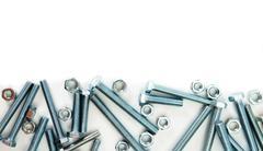 Metalwork. Metal fixture on a white background. - stock photo