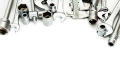 Metalwork. Ruler, wrench, screw and others tools on white background. - stock photo