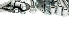 Metalwork. Saw, spanner, ruler and others tools on white background. Stock Photos