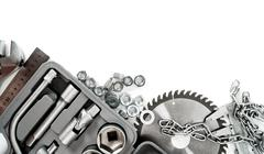 Metalwork. Box, saw, spanner and others tools on white background. - stock photo