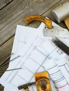Planning of repair of the house. Joiner's works. Drawings for building and wo - stock photo