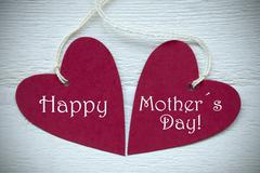 Two Red Hearts With Happy Mothers Day Stock Photos
