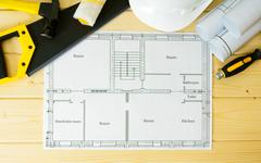 Stock Photo of Planning of repair of the house. Repair work. Drawings for building, saw, ham
