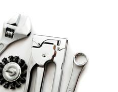 Metalwork. Working tools on white background. Stock Photos