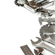 Metalwork. Wrench, caliper, measure and others tools on white background. - stock photo