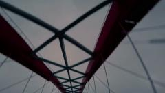4K Stock Footage Suspension Bridge Bottom Up View From the Car Stock Footage