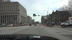 Leaving going West St. Louis, towards old train station Stock Footage