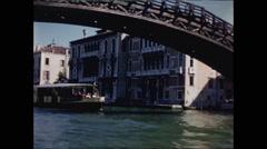 Venice Under Bridge Pass Water Taxi 1957 Stock Footage