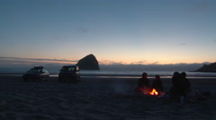 Beach Fire on Oregon Coast Stock Footage