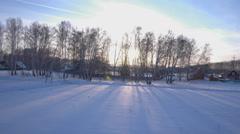 Beautiful scandinavian lapland winter aerial landscape Stock Footage