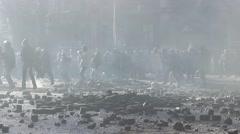 Maidan. Protesters throwing stones.  Kiev. 16.03.2014 Stock Footage