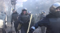 Maidan. Police fight on riot. Kiev 16.03.2014 Stock Footage