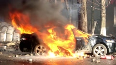 Burn car in Riots. Kiev 16.03.2014 Stock Footage