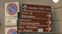 4K Tuscany Toscana Florence historic old town street sign Stock Footage