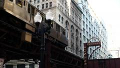 The El. Overhead commuter train in Chicago. Chicago's elevated commuter train. - stock footage