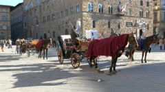 4K Tuscany Toscana Florence Horse cart at Piazza della Signoria Stock Footage