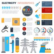 Electricity Infographics Set - stock illustration