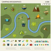 Camping Infographics Set - stock illustration