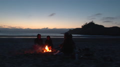 Couples Enjoy Beach Fire at the Oregon Coast Stock Footage