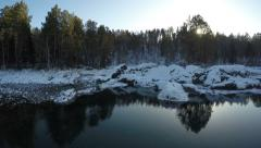 Aerial Stock Footage Mountain Lake in Winter Sunset Stock Footage
