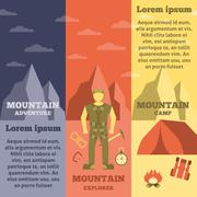 Mountain climber equipment banners set Stock Illustration