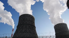 Stock Footage Steam Cooling Towers of Power Station - stock footage