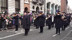 St Patricks Day Parade Dublin playing the Trumpets Stock Footage